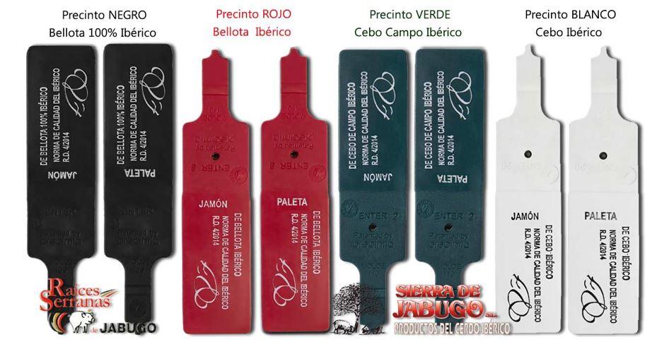 colores identificativos de precintos del jamón y paletas